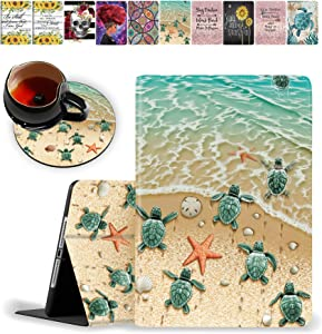 iPad 9.7 inch 2018/2017 Case,Pro 9.7 Case,iPad Air 2 Case, iPad Air Case and Coasters Set Protective Case with Auto Sleep/Wake for iPad 5th/6th Gen & ipad air 1/2 9.7 inch, Sea Turtles on The Beach