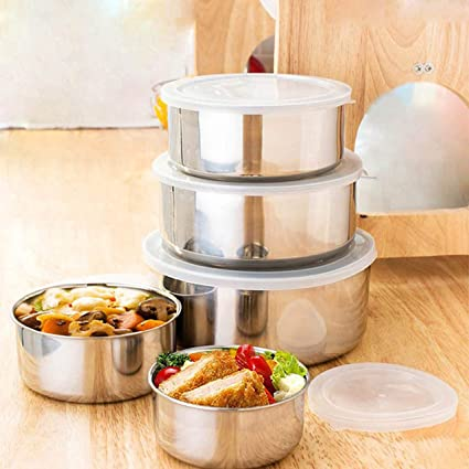 452bae4fd Mixing Bowl Set (5 pcs) - Stainless Steel Food Storage Containers with  Plastic Lid - Lunch Box for ...