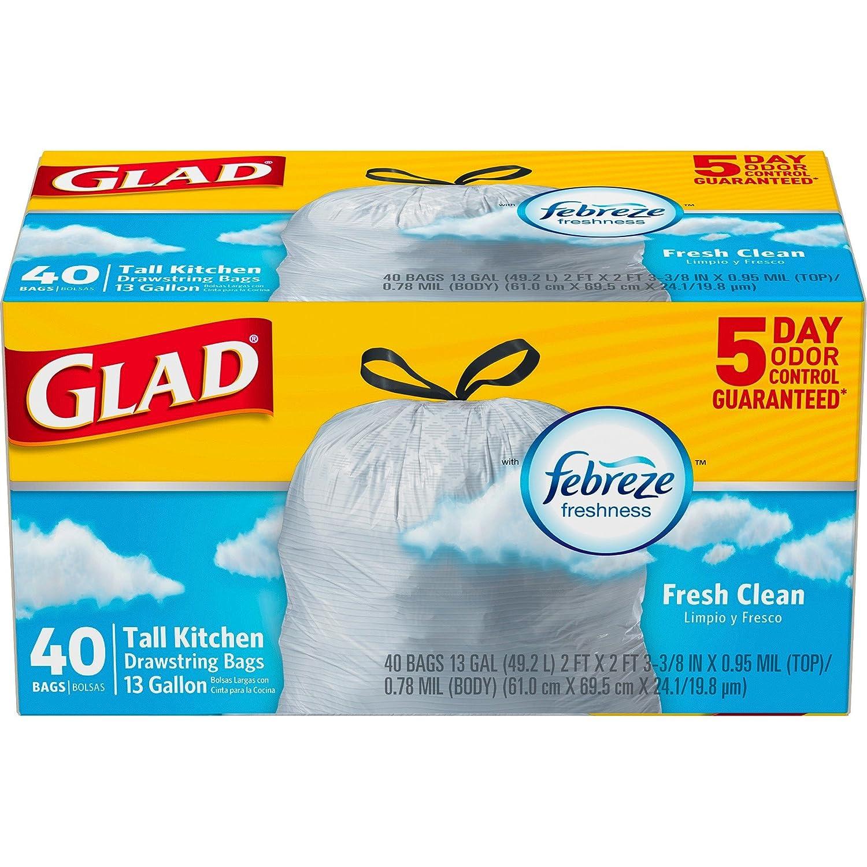 クロロックスclo78361ct Glad Odorshield 13-gal巾着バッグ、6カートンあたり B01GP0WCO0