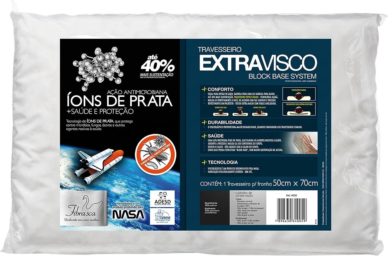 Travesseiro Extravisco, Íons de Prata, Revestimento Poliester, 50X70 cm, Branco, Fibrasca por Fibrasca