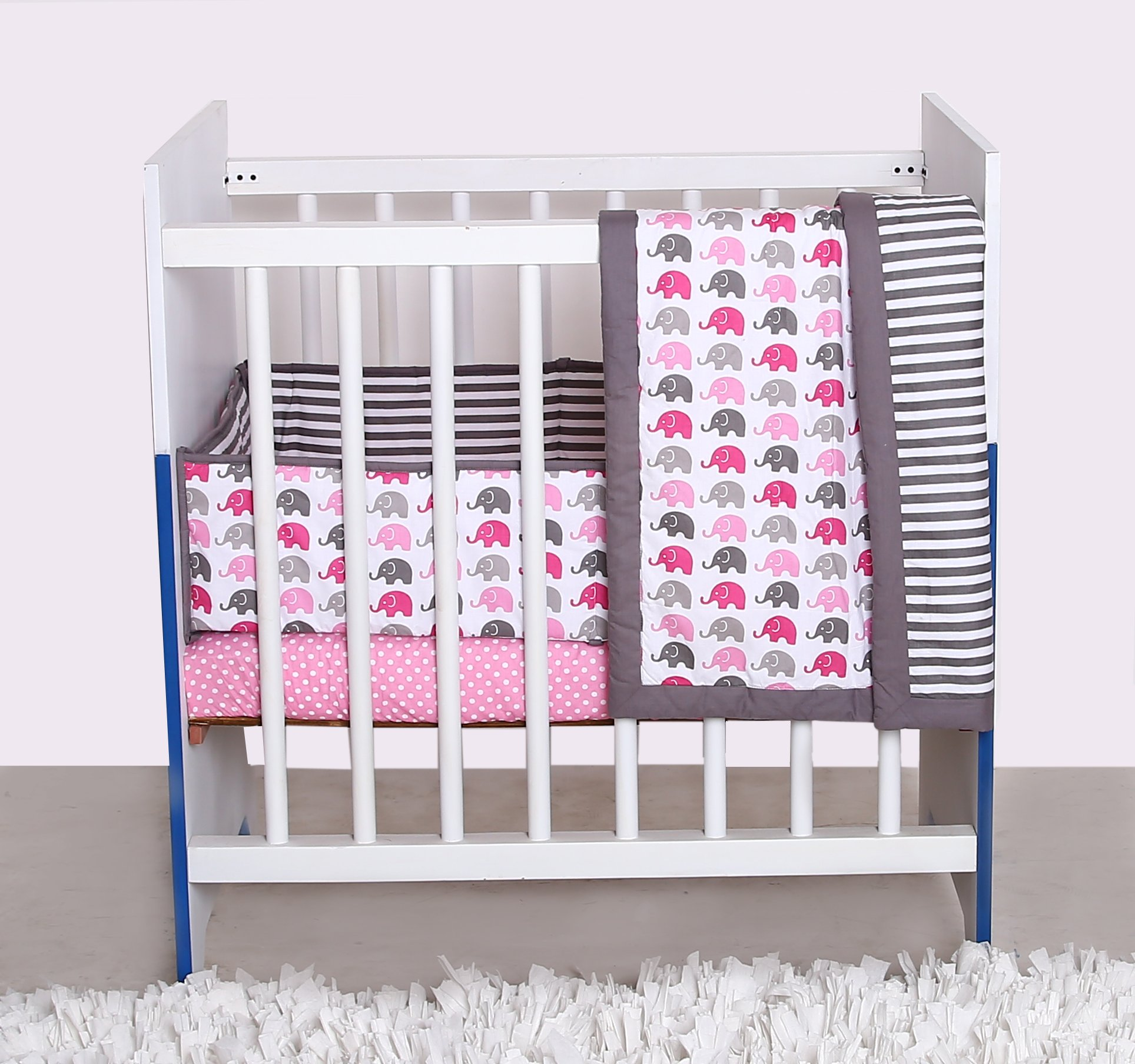 Bacati Elephants 3-Piece Portable Crib Bedding Set, Pink/Grey