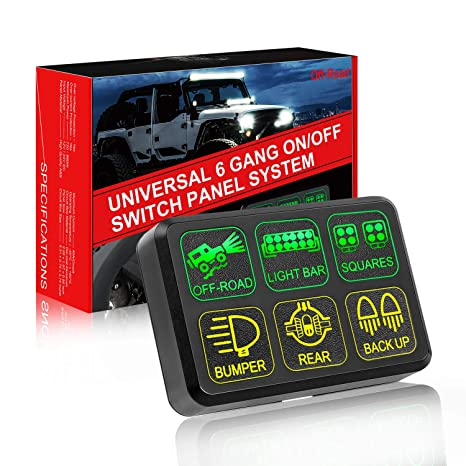 6 Gang Switch Panel, OFFROADTOWN Electronic Relay System with Circuit Jeep Fuse Relay Box on