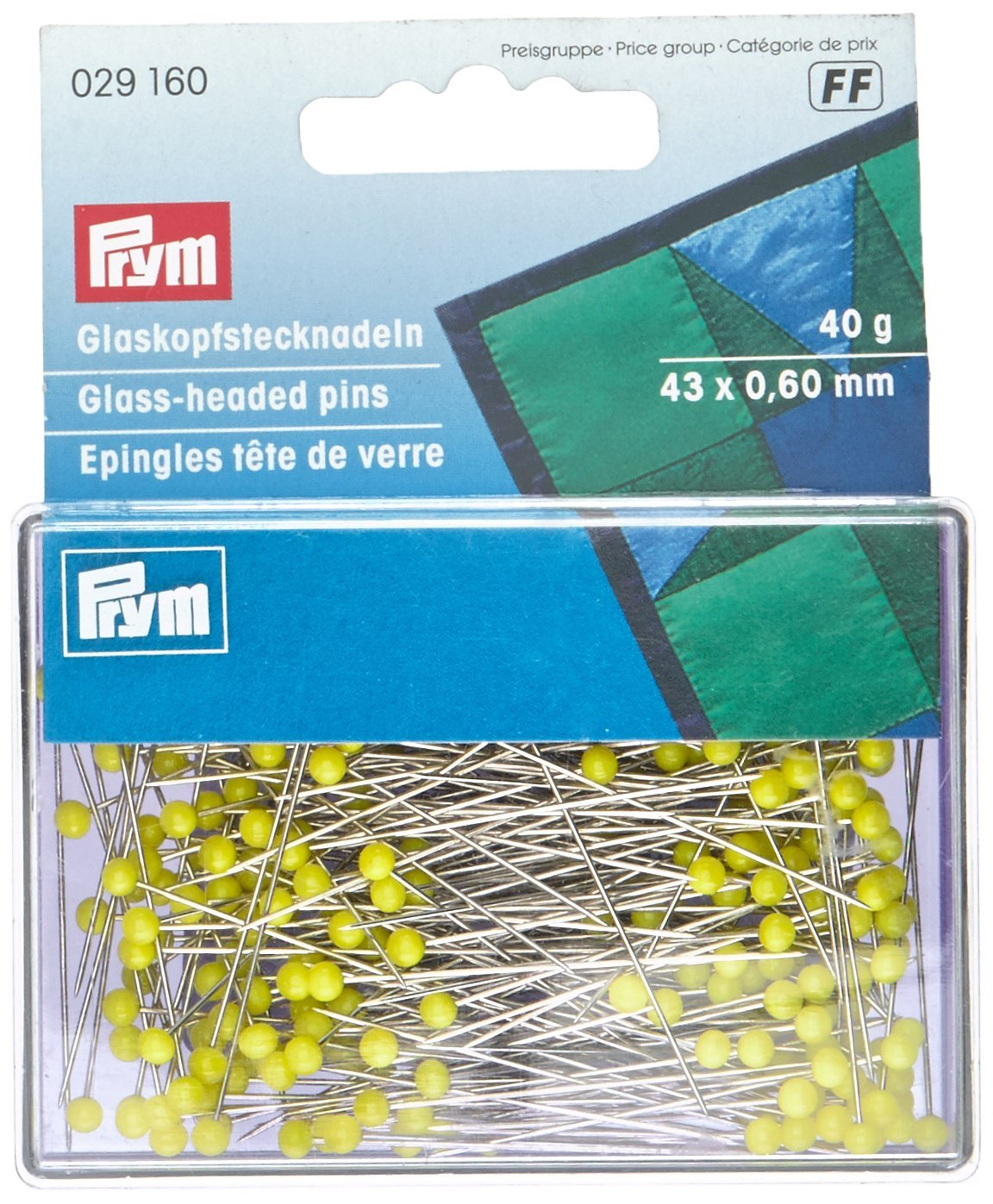 Prym - Alfileres (cabeza de cristal, 43 x 0,60 mm), color amarillo PRYM_029160-1