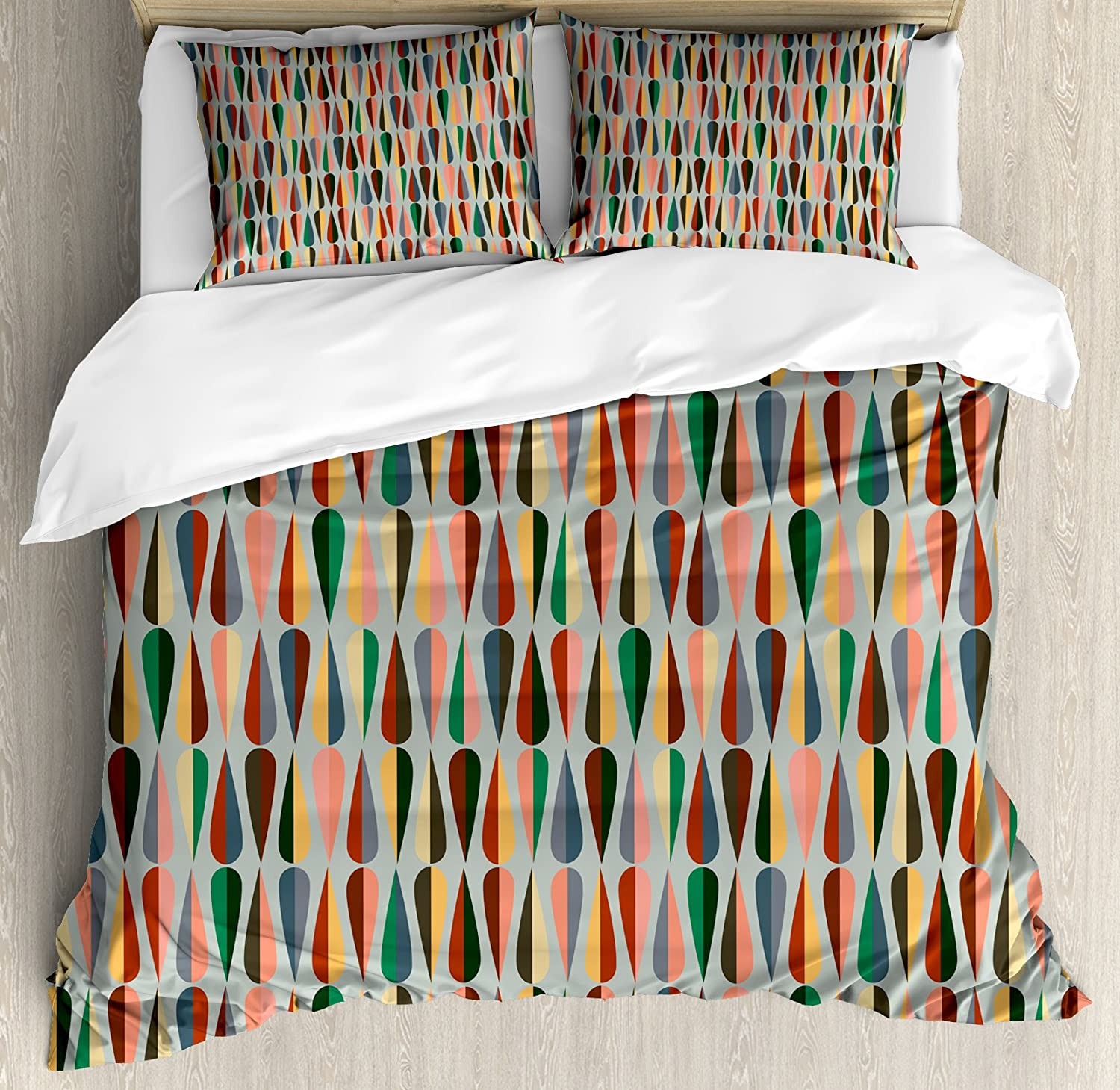 Ambesonne Mid Century Duvet Cover Set Queen Size, Simple Two Colored Drop Shapes Grid Symmetrically Lined on Grey Background, Decorative 3 Piece Bedding Set with 2 Pillow Shams, Multicolor