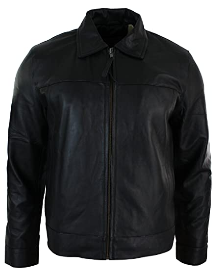 Mens Classic Zipped Real Leather Jacket Retro Black: Amazon.co.uk ...