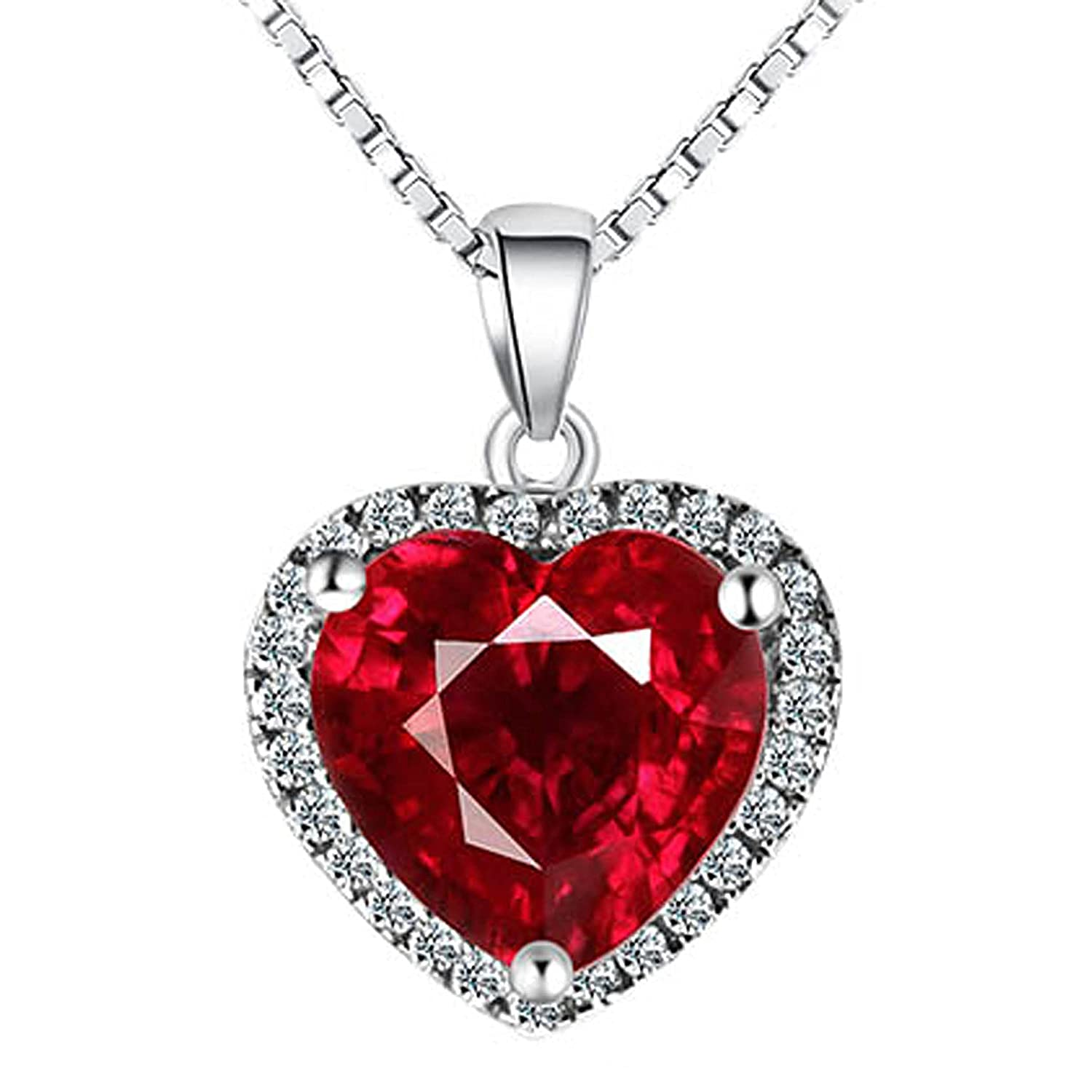 """Navachi 925 Sterling Silver 18k White Gold Plated 3.7ct Heart Ruby or Emerald Necklace Pendant 16"""""""
