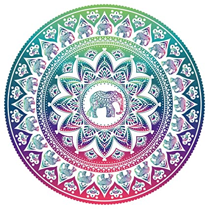 FINCIBO Large Round Towel Microfiber Soft Water Absorbent Multi-Purpose 59 inch for Beach Blanket Yoga Tapestry - Elephant Mandala