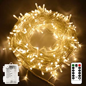 100 LEDs Outdoor LED Fairy String Lights Battery Operated with Remote (Dimmable, Timer, 8 Modes) - Warm White