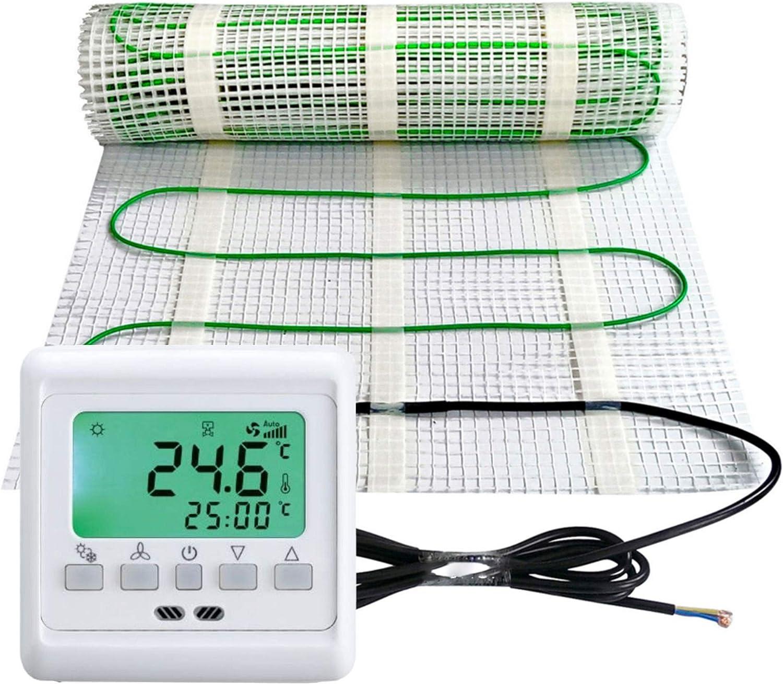 Gr/ö/ße Elektrische Fu/ßbodenheizung 200Watt je m/² Thermostat Touch wei/ß Elektrisch TWIN Technologie JWS verschiedene Gr/ö/ßen m/² :15 m/²