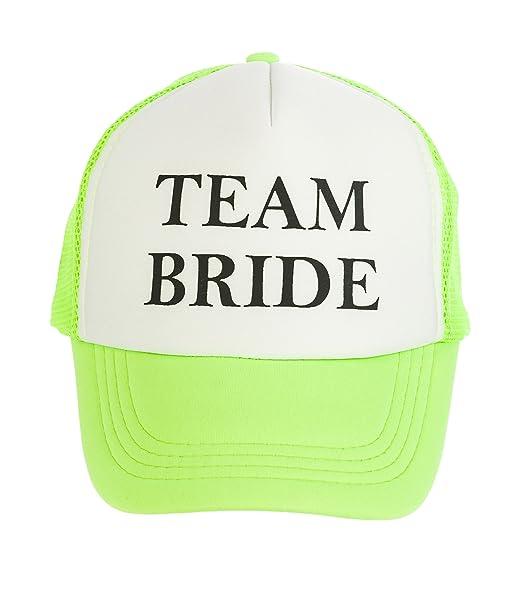 8b1c4ab2 Funny Guy Mugs Team Bride Adult Unisex Adjustable Trucker Hat, Neon Green