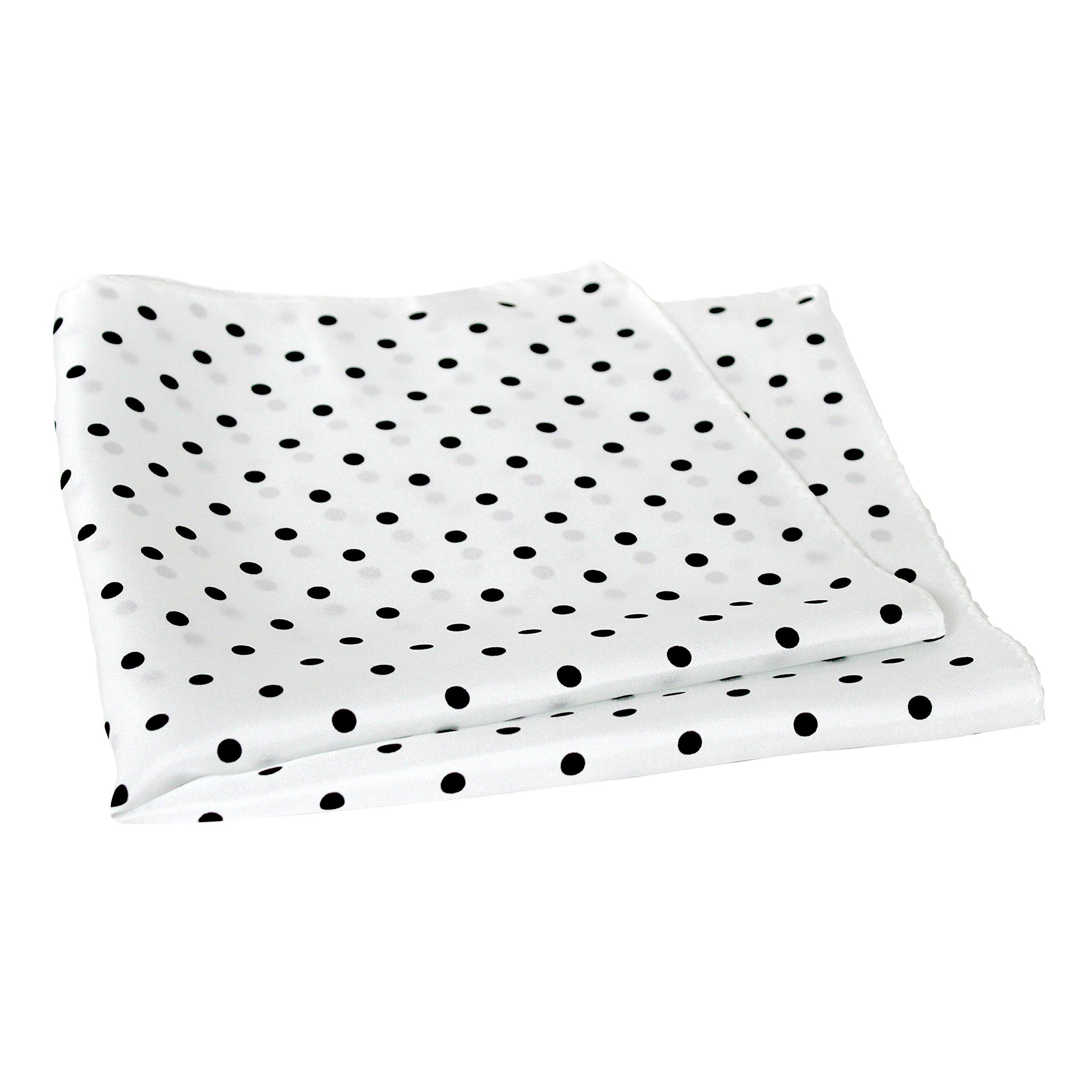 White Silk Polka Dot Pocket Square - 17'' Handkerchief - 12mm Silk Twill