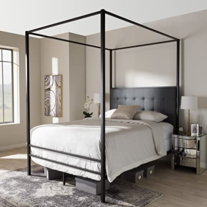 Baxton Studio Contemporary Canopy Queen Bed in Black Finish & Amazon.com: Baxton Studio Contemporary Canopy Queen Bed in Black ...
