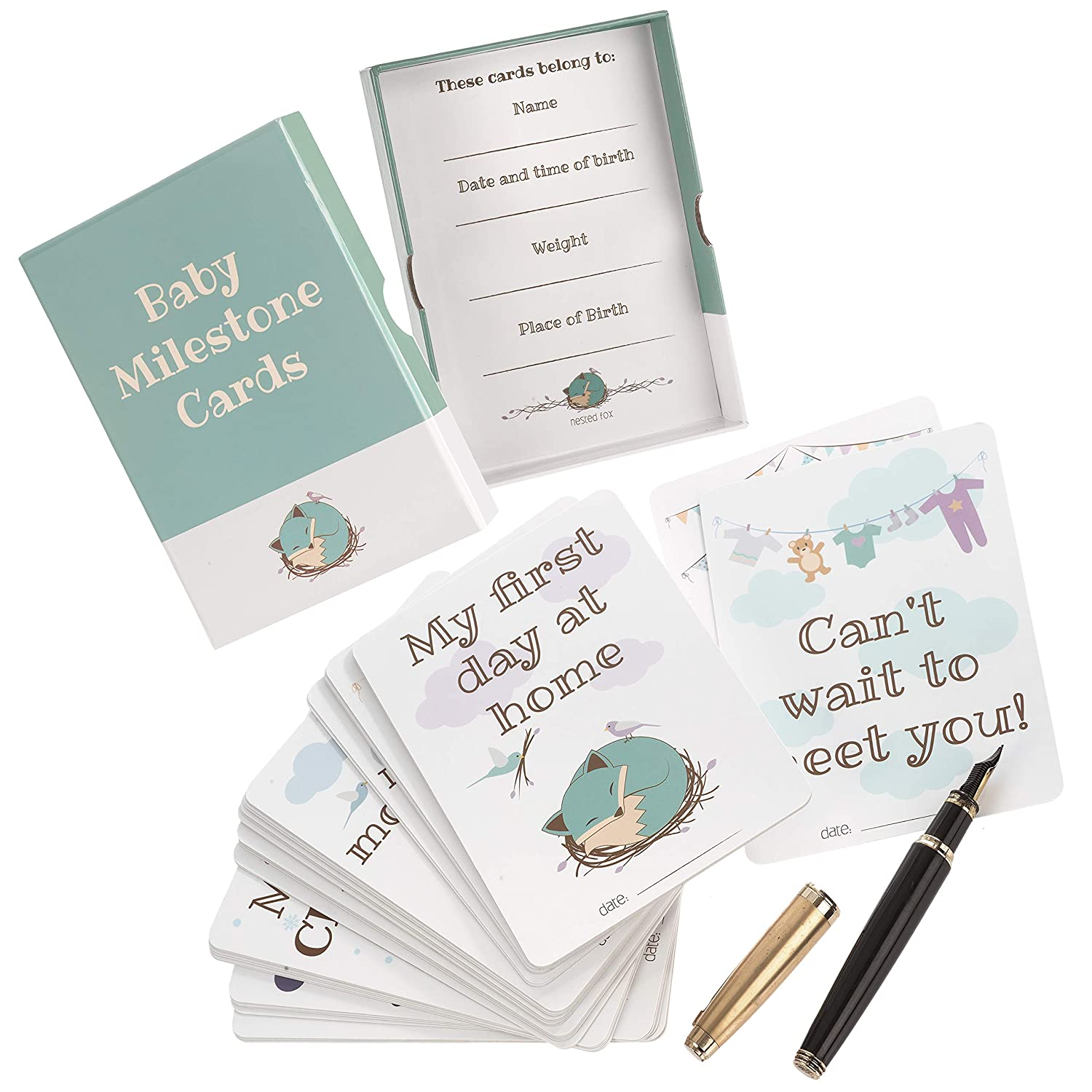 c4e791c77a275 Milestone Cards for Baby Shower Gifts – Large 50 Card Set in Keepsake Box -  Capture and Personalise Cherished Moments - Unisex Design by UK Mum