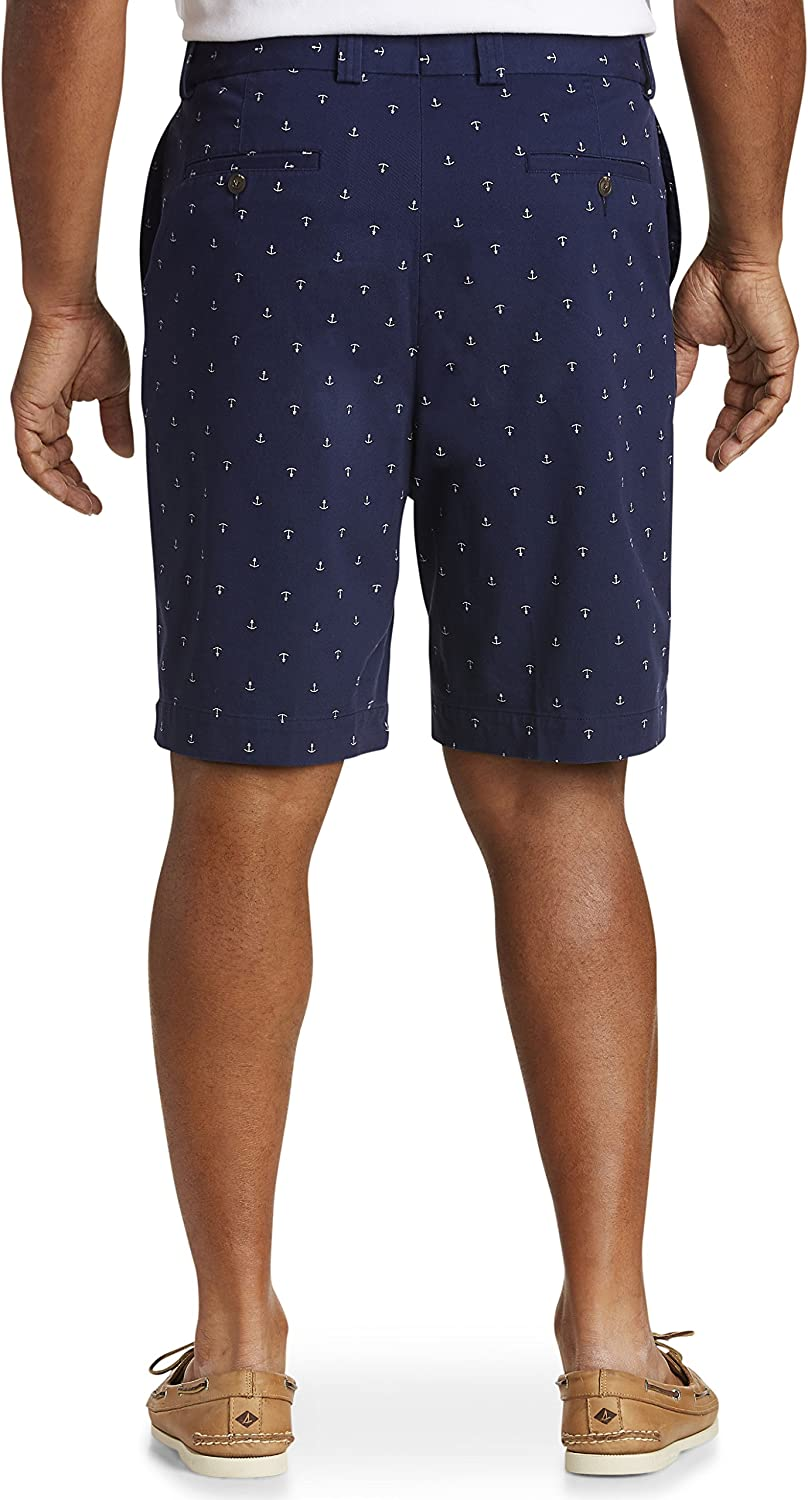 Harbor Bay by DXL Big and Tall Waist-Relaxer Pleated Shorts New Navy