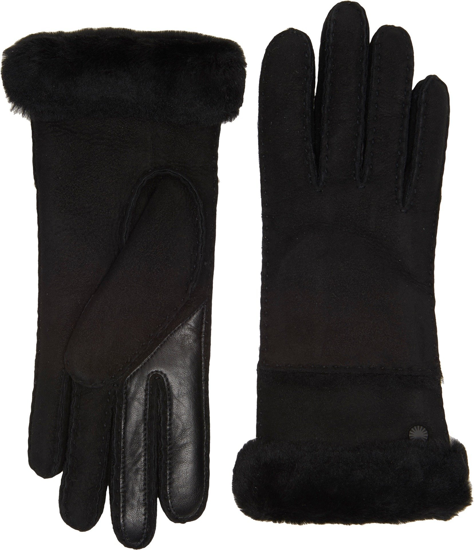 UGG Women's Exposed Waterproof Sheepskin Tech Gloves with Slim Pile Black MD