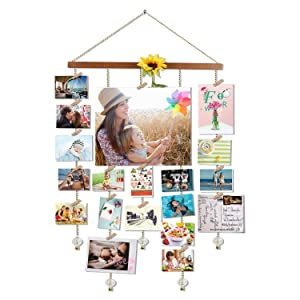 O-KIS Photo Display Picture Frame Collage by Multi Photo Display with 20 Clips, Aged Walnut Wood Golden Chain with Crystal Pendant 16×29 inch (Brown)
