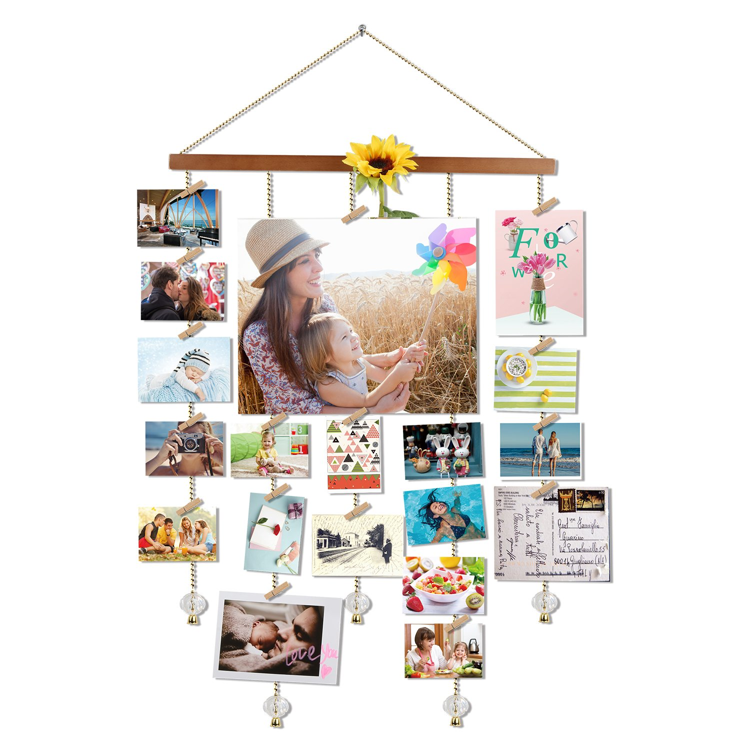 O-KIS Photo Display, Picture Frame Collage by Multi Photo Display with 20 Clips, Aged Walnut Wood, Golden Chain with Crystal Pendant,16×29 inch