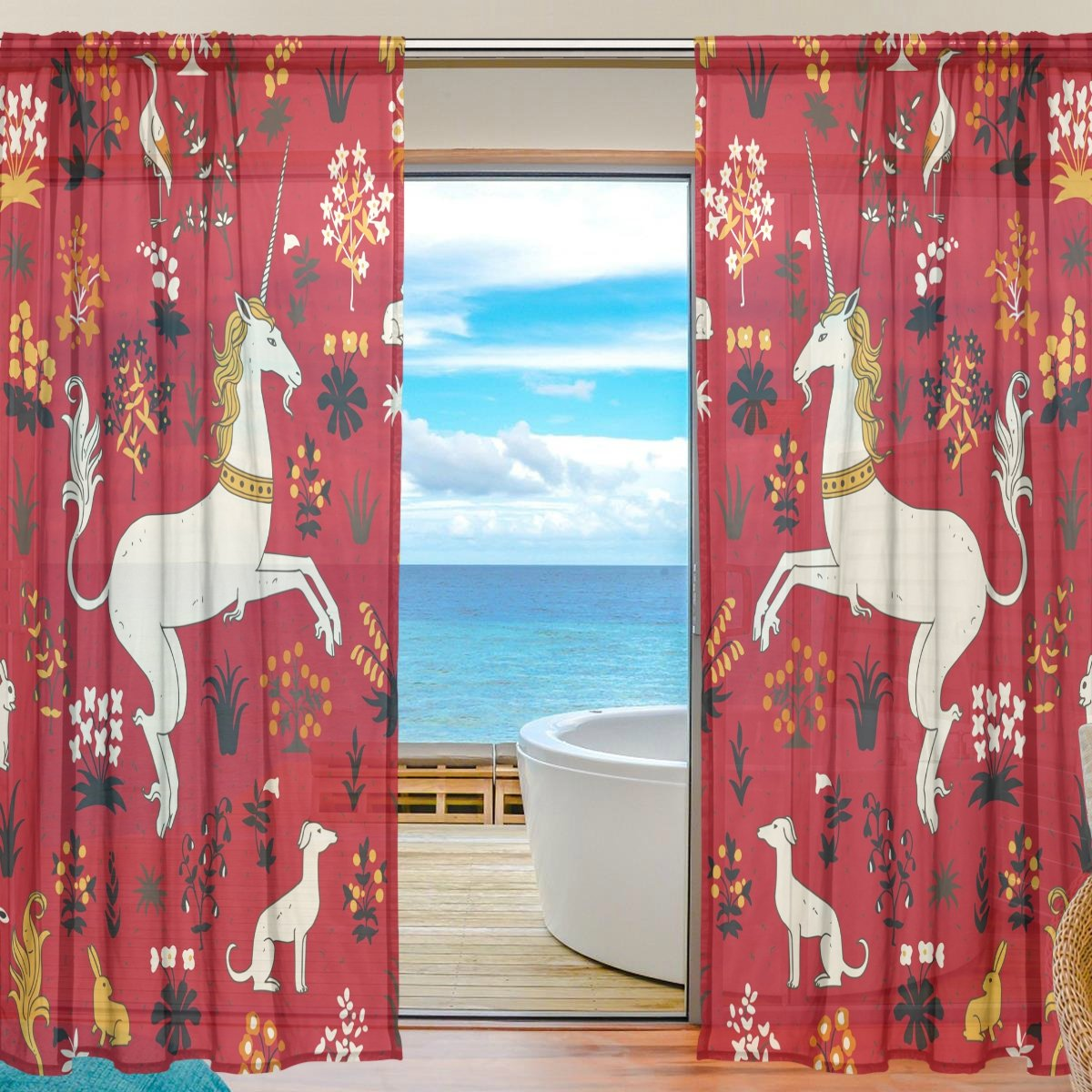 SEULIFE Window Sheer Curtain, Vintage Animal Unicorn Rabbit Flower Voile Curtain Drapes for Door Kitchen Living Room Bedroom 55x78 inches 2 Panels by SEULIFE (Image #1)