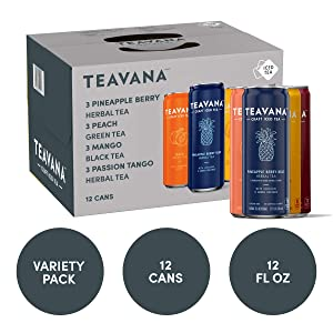 Teavana Craft Iced Tea Variety Pack, Pineapple Berry Blue Herbal Tea, Peach Green Tea, Mango Black Tea & Passion Tango Herbal Tea, 12 Fl. Oz. Cans (Pack of 12)