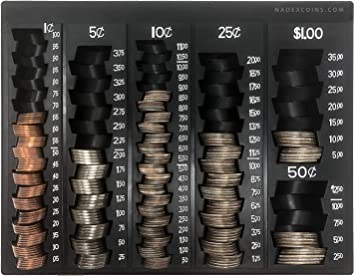 Compact Coin Organizer Change Sorting 5-Compartments Coin Storage Box