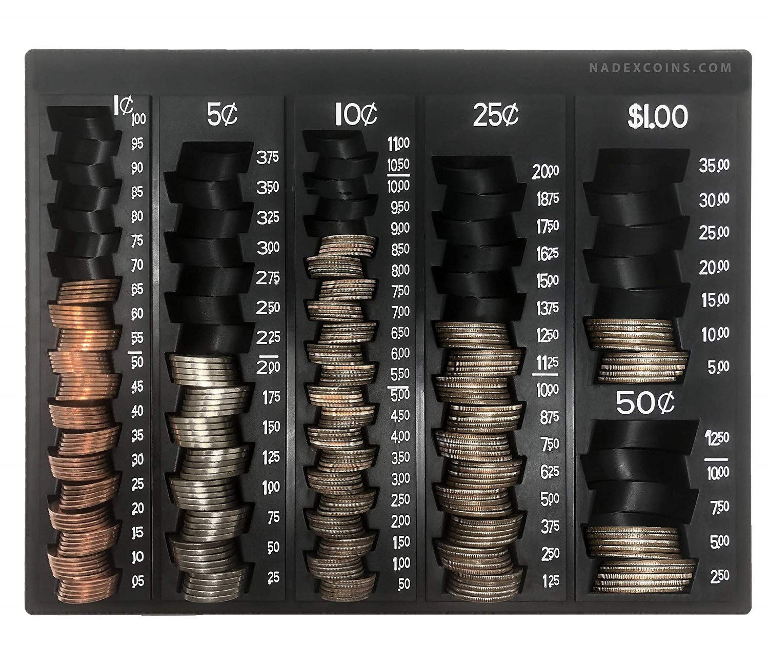 Nadex Coin Handling Tray | Bank Teller and Change Counter Coin Counting and Sorting Tray with 6 Compartments for U.S. Coins with Cover - 32 Coin Wrappers Included (Black) by Nadex