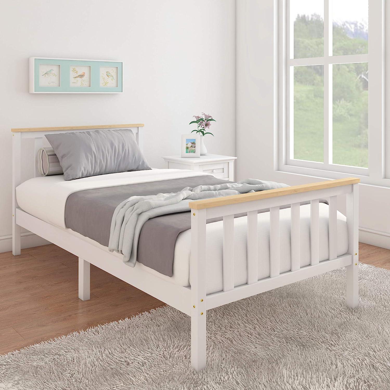 Cama individual de 3 pies, marcos de cama de madera maciza ...