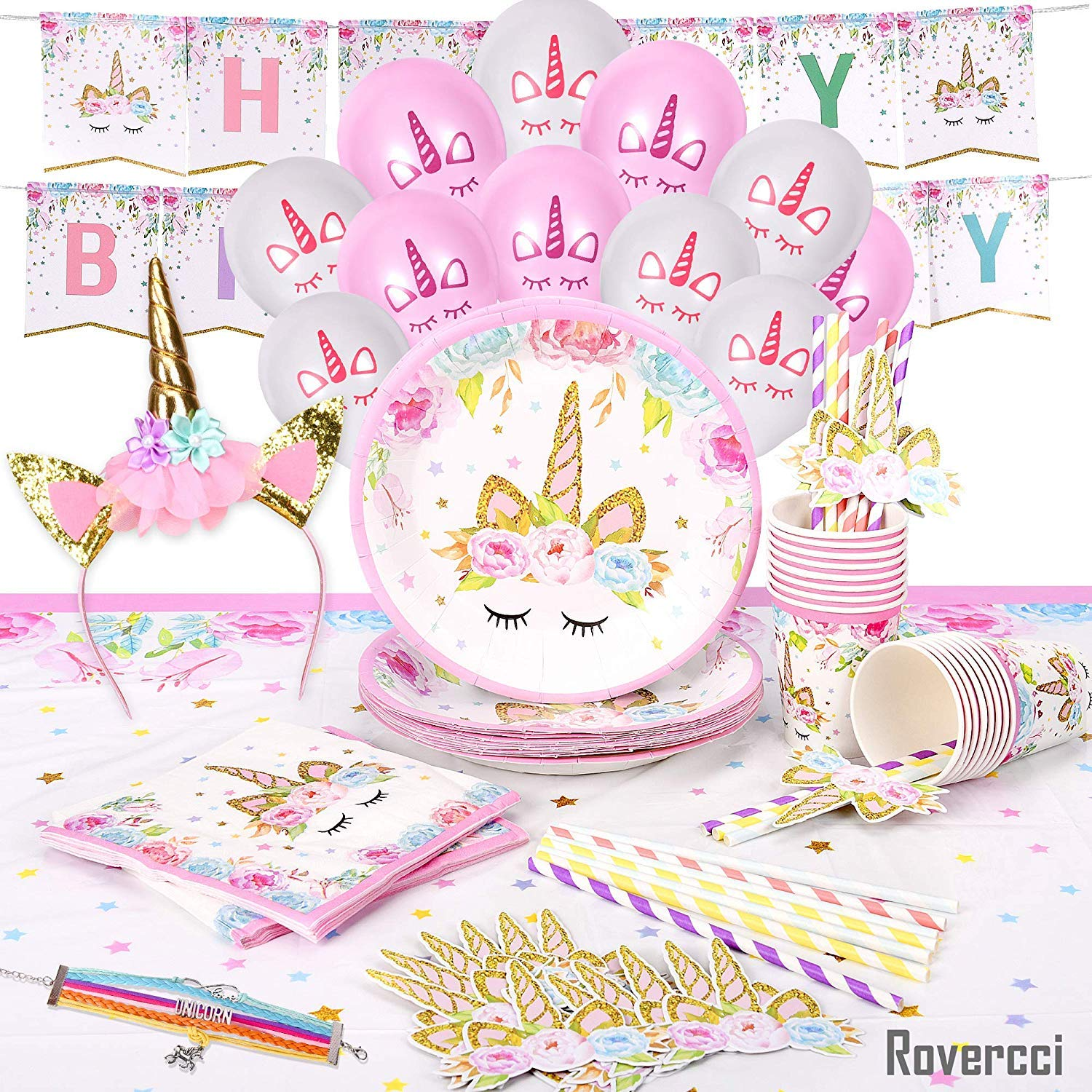 Unicorn Party Supplies Set & Tableware Kit   Birthday Decorations Bunting, Disposable Paper Plates, Cups, Napkins, Straws, Plastic Table Cloth, & Bonus Balloons, Bracelet, Head Band - Serves 16 by Rovercci