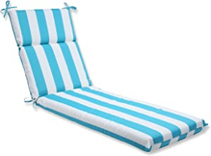 Pillow Perfect - 667140 Outdoor/Indoor Cabana Stripe Chair Pads, 15.5 X 14.5 X 3.5, Turquoise, 2 Pack