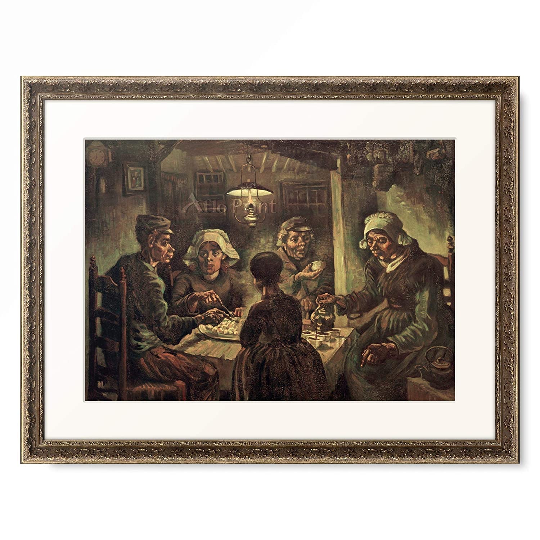 フィンセントファンゴッホ Vincent Willem van Gogh 「The Potato Eaters. 1885」 額装アート作品 B07P8NG4NX 09.装飾額 19mm(黒金) S(額内寸 255mm×203mm) S(額内寸 255mm×203mm)|09.装飾額 19mm(黒金)