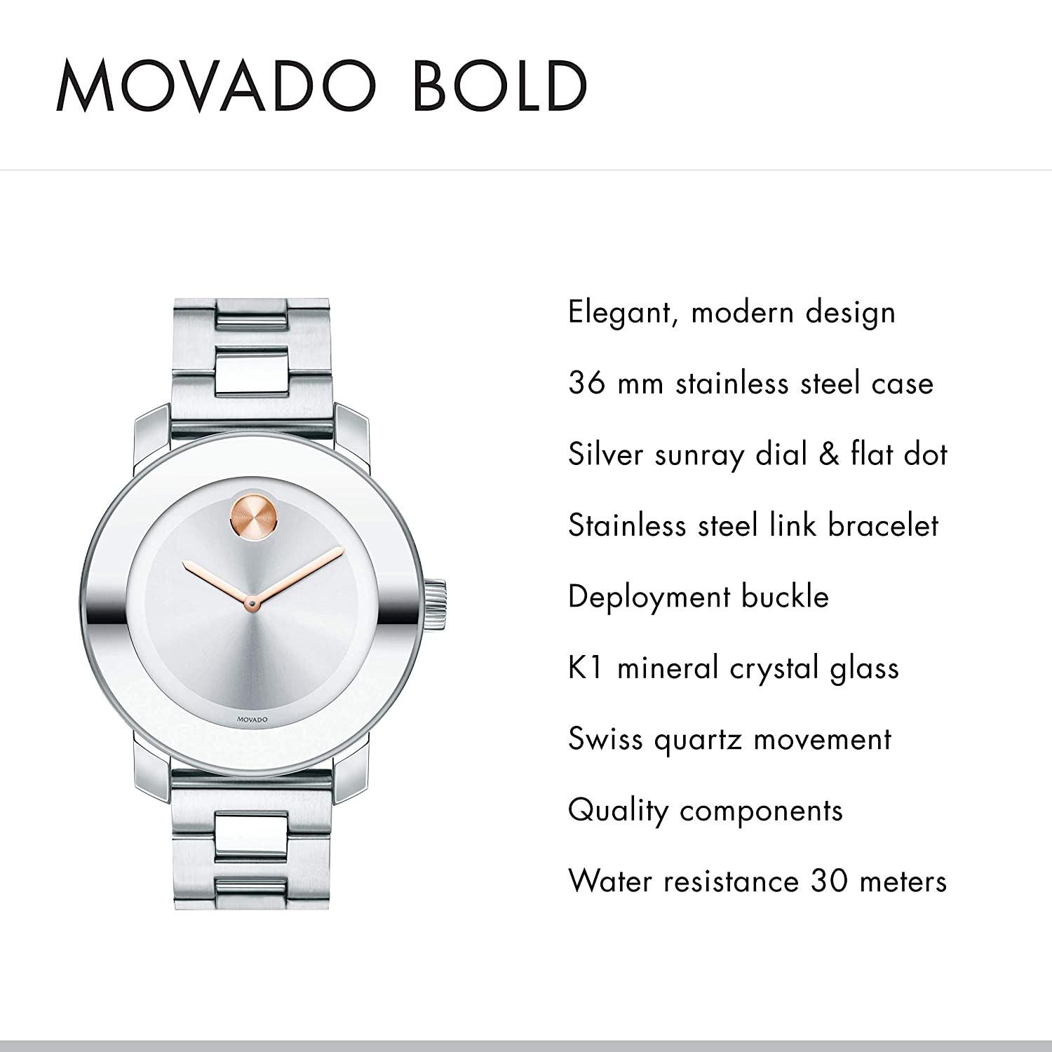 cefc006f1 Amazon.com: Movado Women's BOLD Iconic Metal Watch with a Flat Dot Sunray  Dial, Silver/Pink/Gold (Model 3600084): Watches