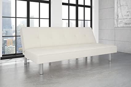 Amazon.com: DHP Nola Futon Couch with Tufted Faux Leather Upholstery ...