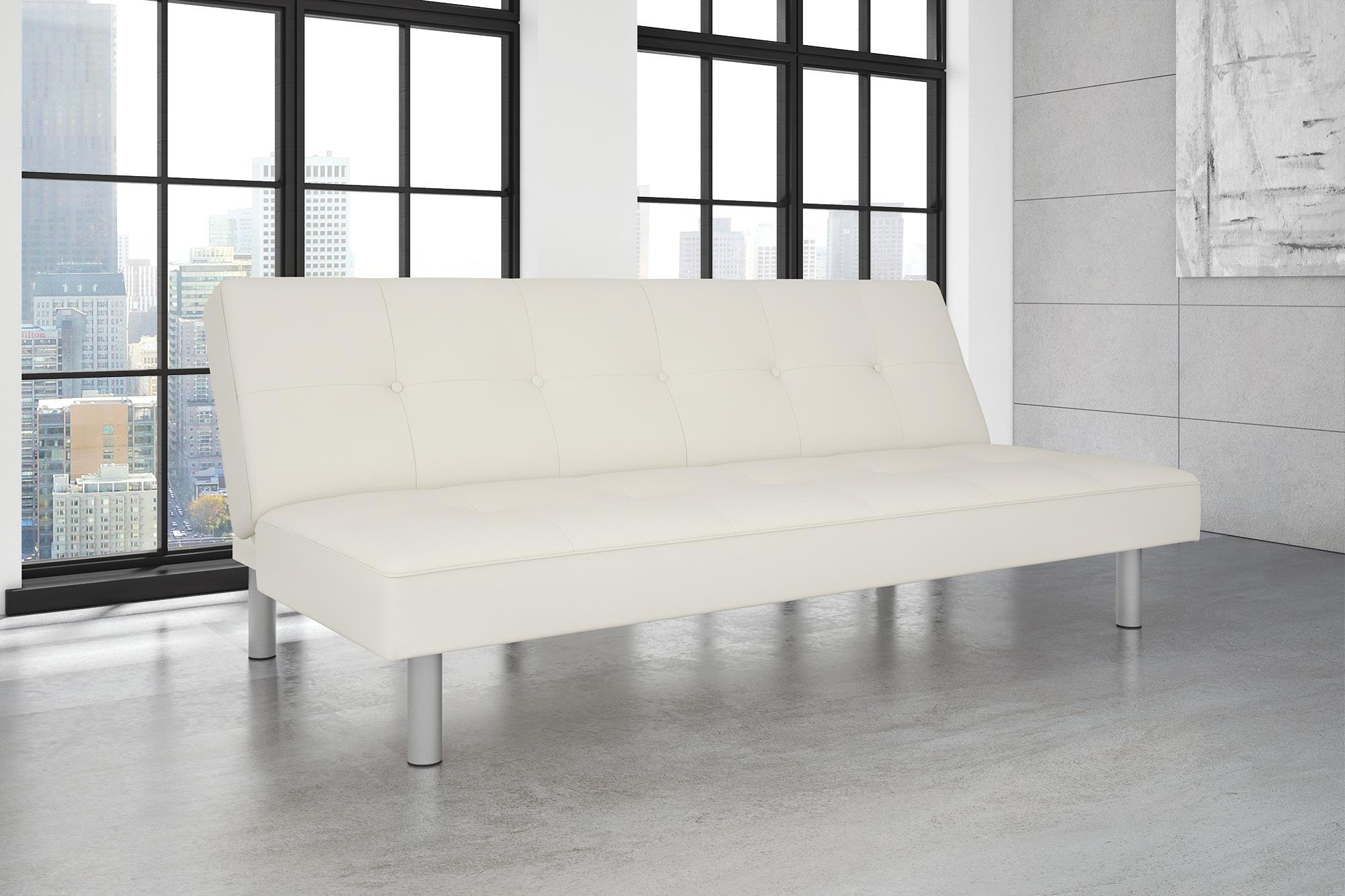 DHP Nola Futon Couch with Tufted Faux Leather Upholstery, Modern Style, White Faux Leather by DHP (Image #1)