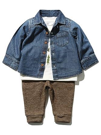 b970684cb M Co Baby Boy 100% Cotton Long Sleeve Denim Shirt Slogan Top and ...