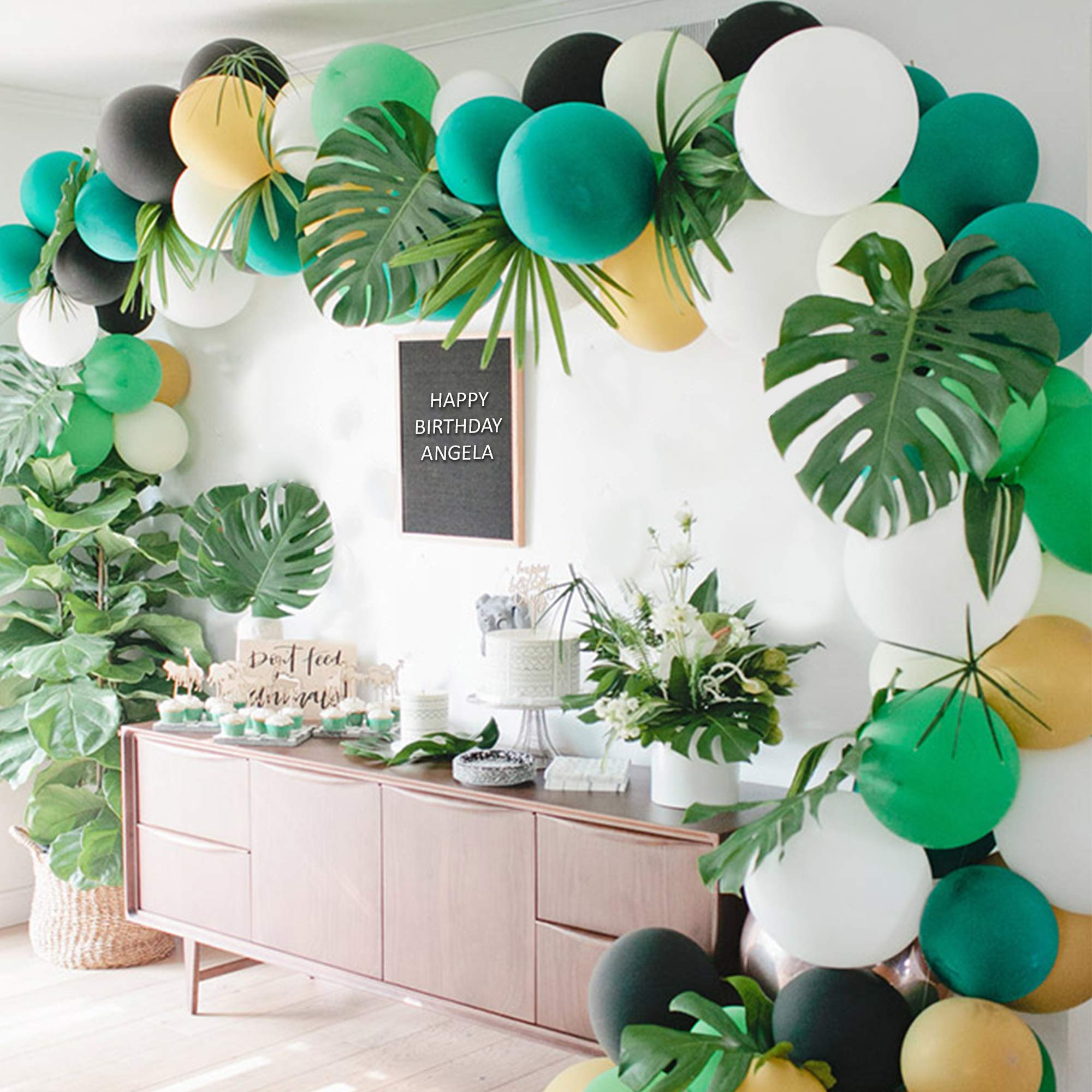Safari Party Supply Decoration Kit | 130pcs Balloons, 24pcs Palm Leaves, 1 Arch Balloon Strip Tape, 1 Roll of Stickers, 1 Green Ribbon, 5pcs Mini Animal Balloons - Jungle Kids Birthday Decor