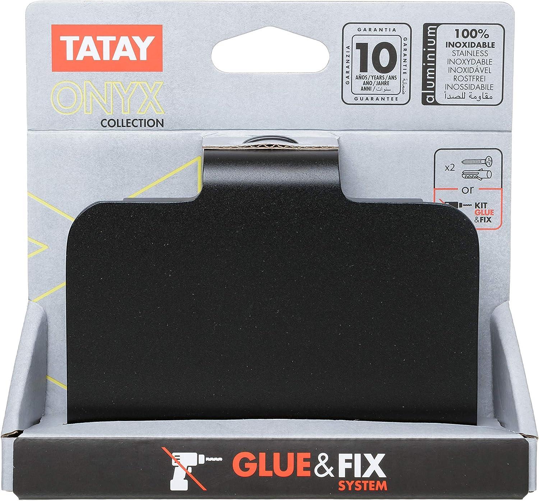 Portarrollos de ba/ño con Tapa en Aluminium Negro Mate Tatay Onyx Doble Sistema de fijaci/ón Tornillo y Pegamento 12 x 5 x 10 cm