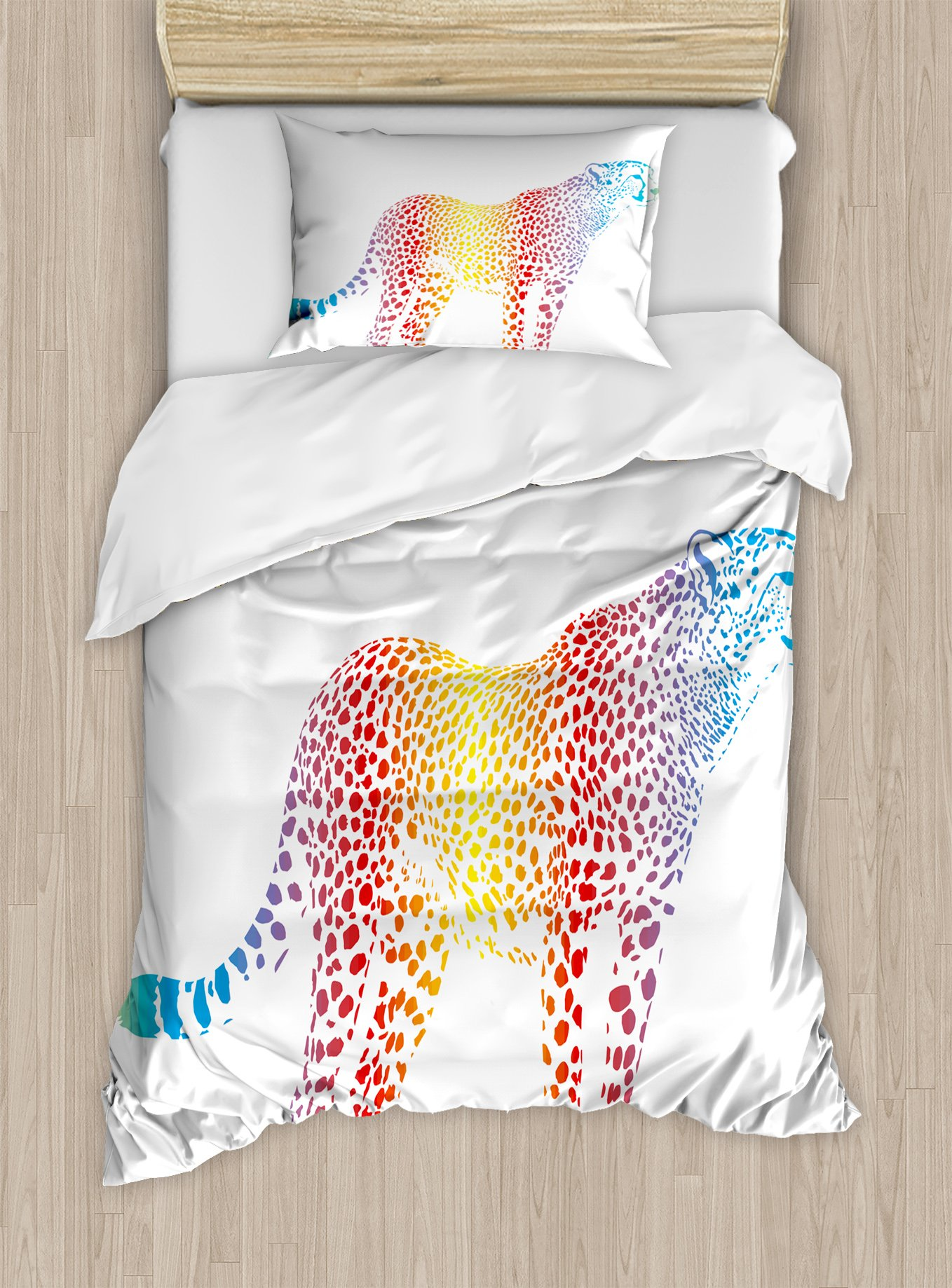 Ambesonne Rainbow Duvet Cover Set Twin Size, Cheetah Rainbow Colored Smokescreen Camouflage Realsitic Animal Safari Wildlife, Decorative 2 Piece Bedding Set with 1 Pillow Sham, Multicolor