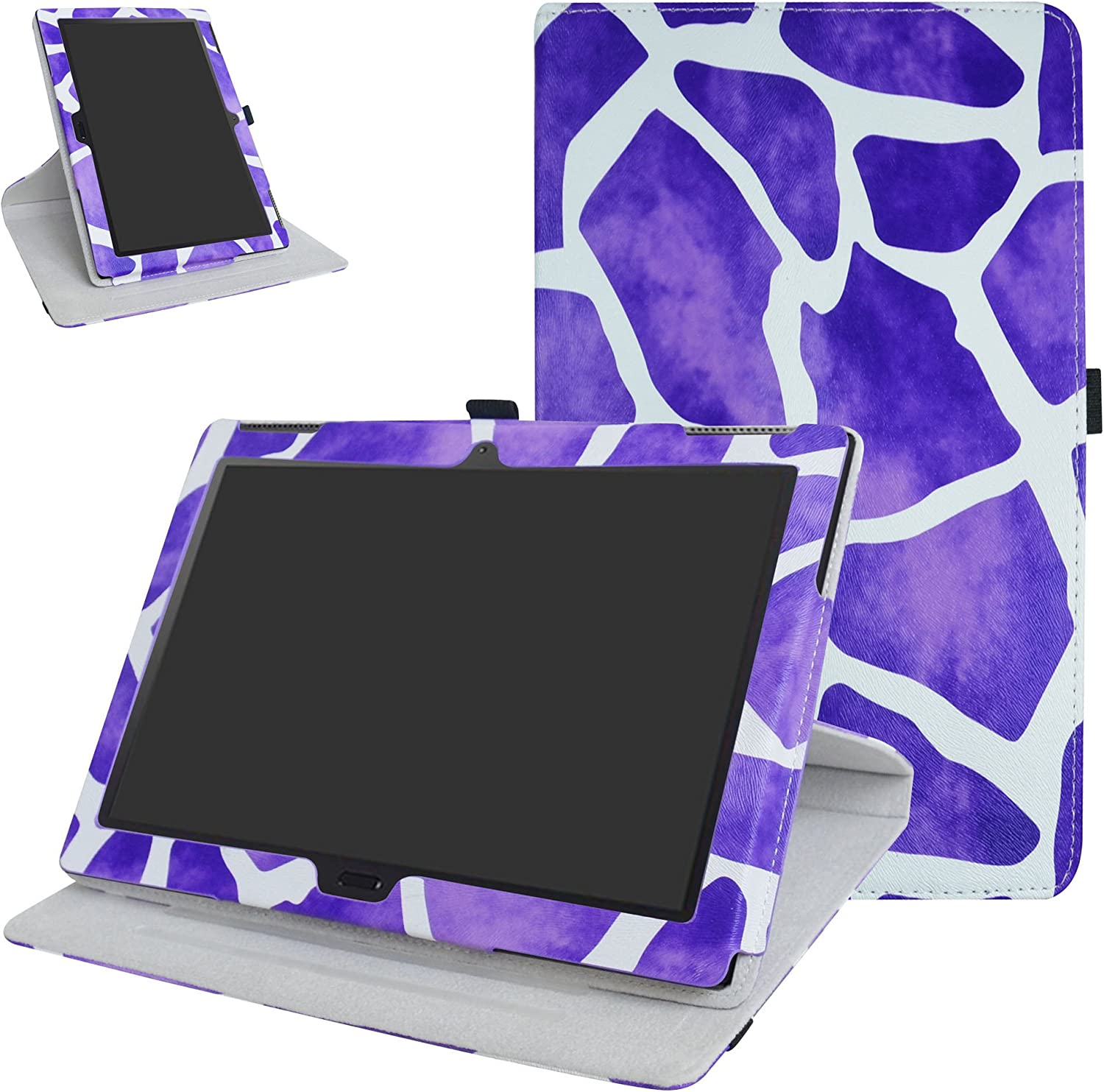 "Lenovo Moto tab X704A / Tab 4 10 Plus Rotating Case,Mama Mouth 360 Degree Rotary Stand with Cute Pattern Cover for 10.1"" Lenovo Moto tab X704A / Tab 4 10 Plus Tablet,Giraffe Purple"