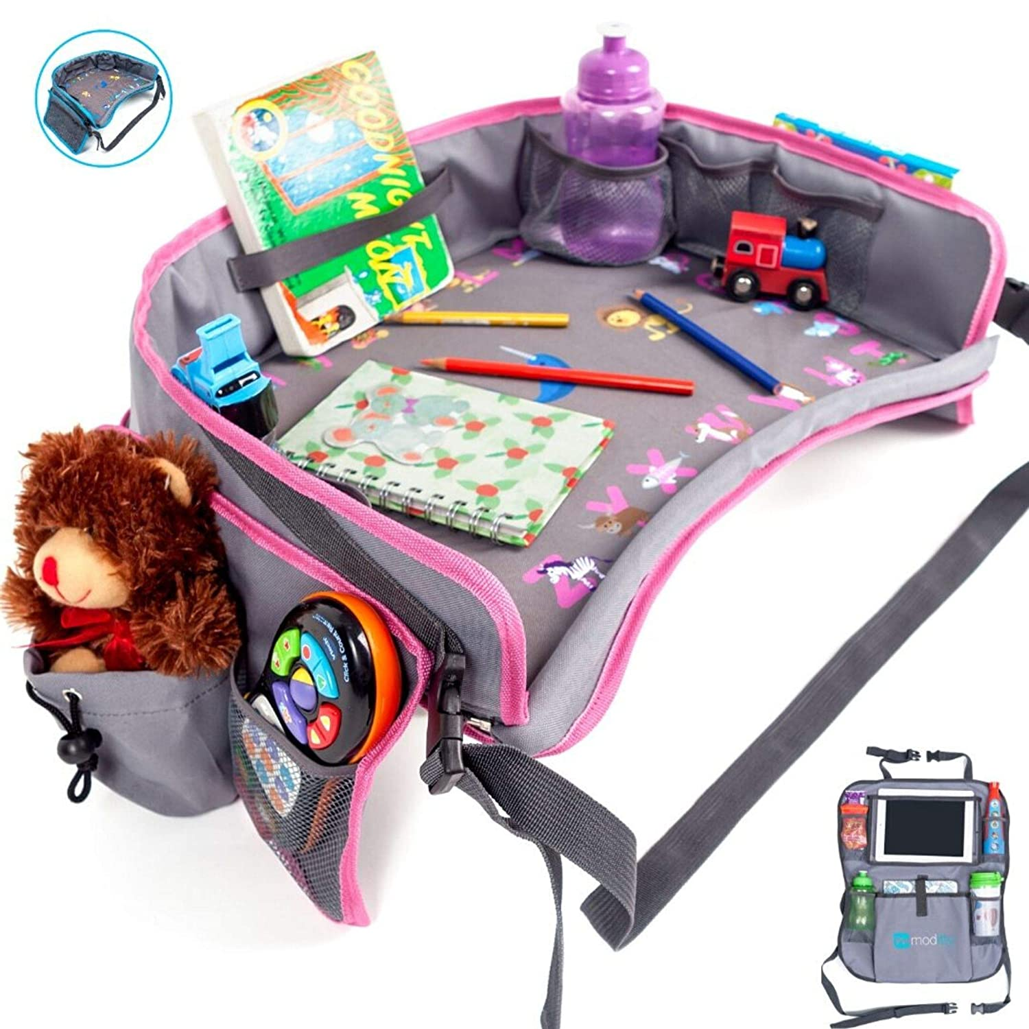 Moditty Kids Travel Tray Bundle with Back Seat Car Organizer