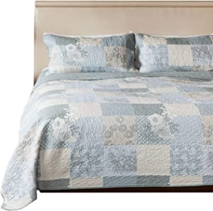SLPR Cottage Floral 2-Piece 100% Cotton Lightweight Quilt Set - Twin with 1 Sham | Bedding Quilted Bedspread