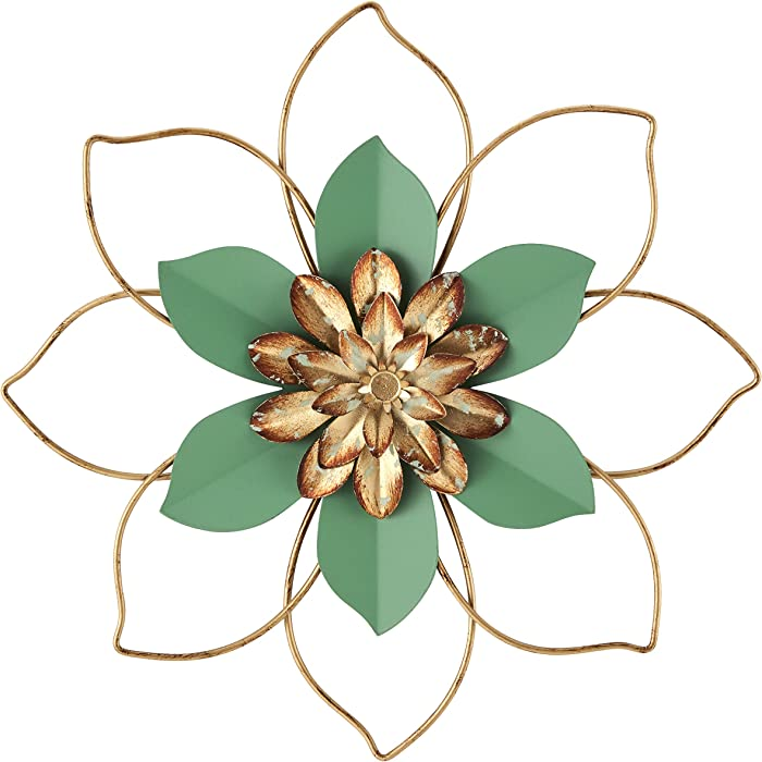 H HOMEBROAD. Metal Flower Wall Decor Hanging Decorations Outdoor Wall Sculptures for Home Bedroom Bathroom Kitchen Garden, Mint Green, 12""