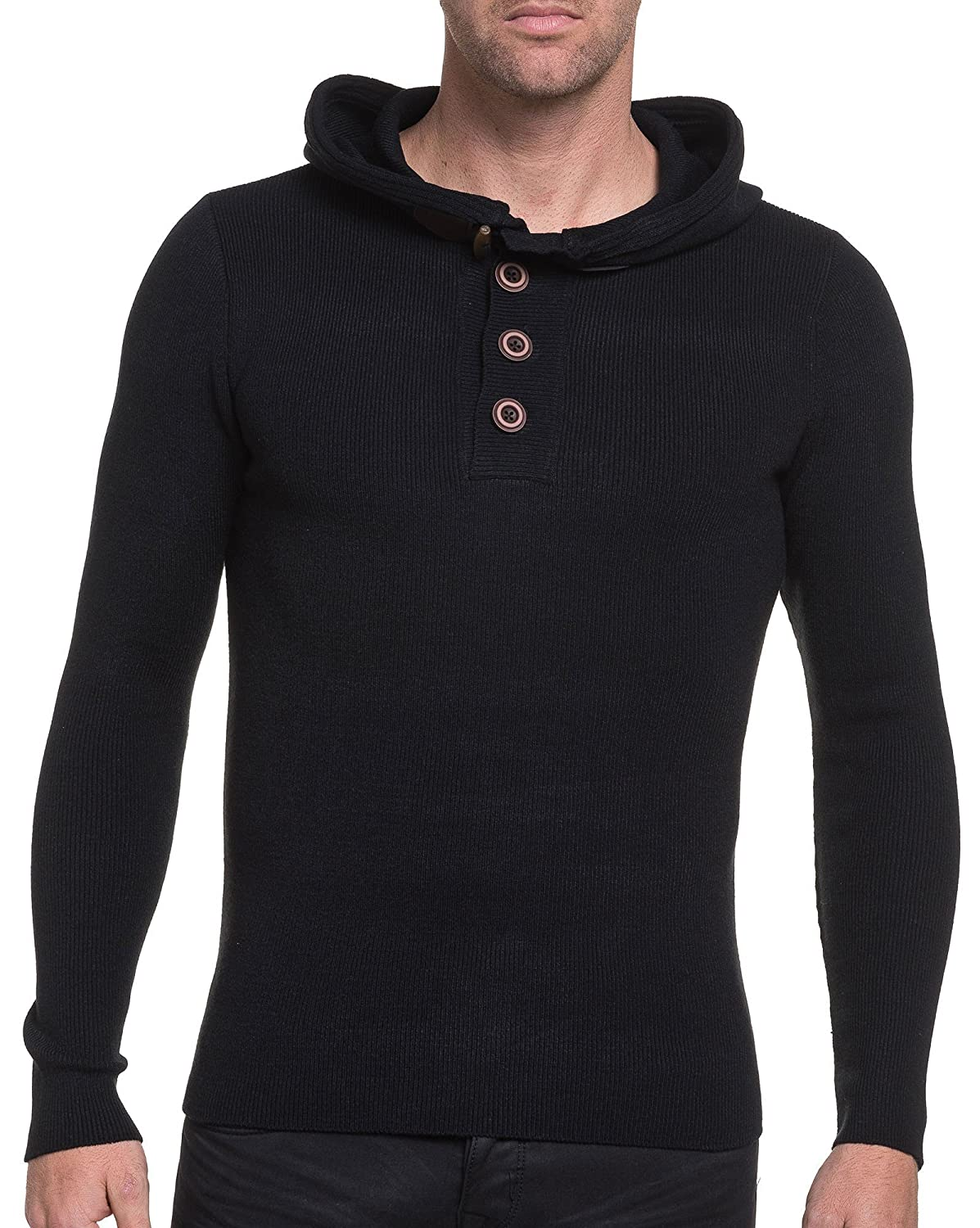 BLZ jeans - black ribbed sweater classic hooded man