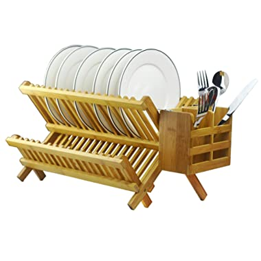 Bamboo Dish Rack 2-Tier Collapsible Drainer Folding Wooden Dish Drying rack with Utensils Flatware Holder set Home Cabinet,18 Slots Keep Dry