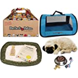 Perfect Petzzz Huggable Pug Puppy with Blue Tote For Plush Breathing Pet and Dog Food,