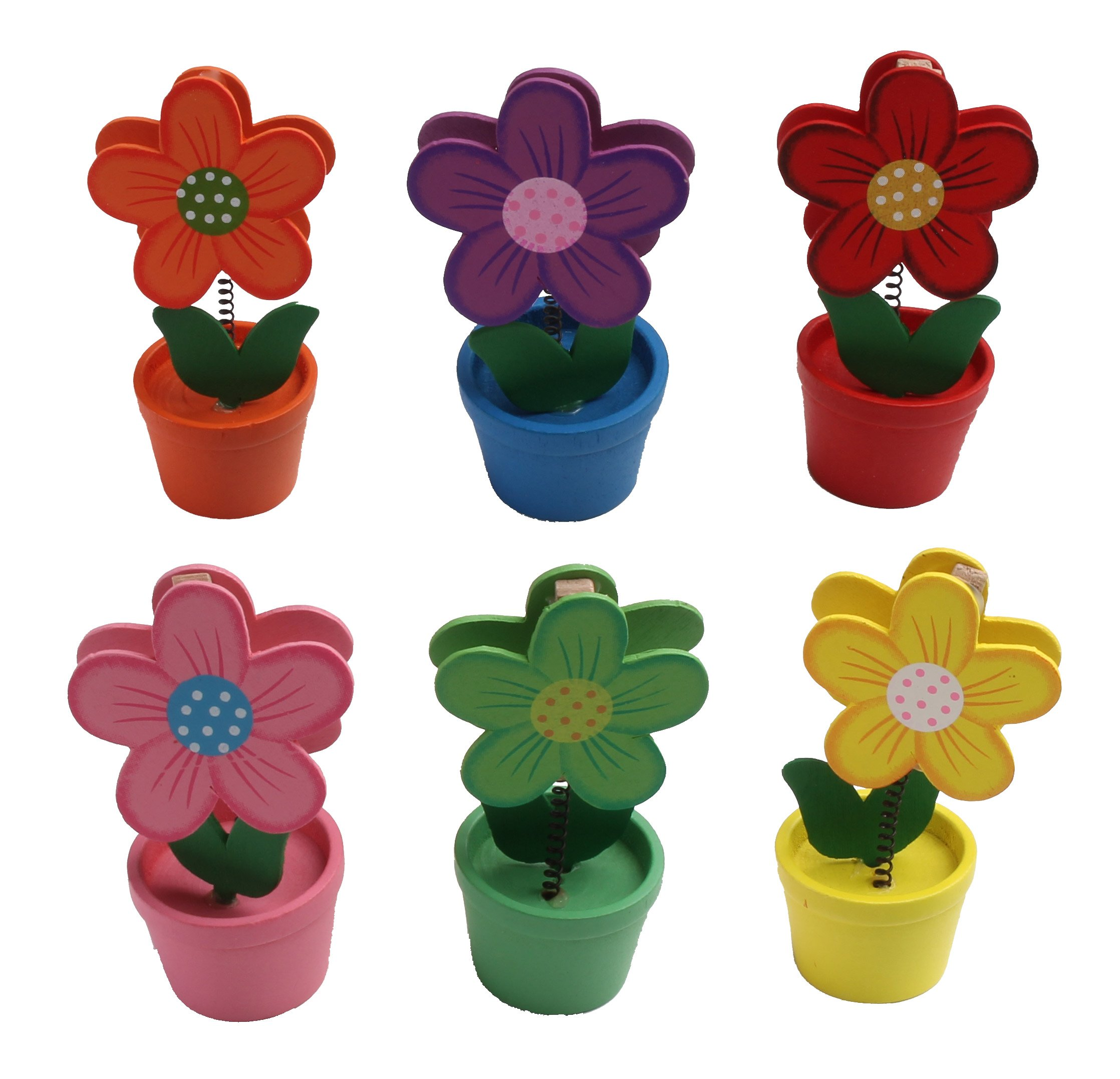 Displays2go Flower Pot Memo Holders in 6 Colors, Brightly Painted Wooden Place Card Holders, Orange, Pink, Green, Yellow, Blue and Red, Set of 30 (6FLOWERSCP)