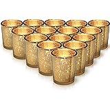 Granrosi 金色水星烛台 15 件套 - 由水星玻璃制成,带光面金色表面 - 为您的婚礼或家居装饰增添完美氛围