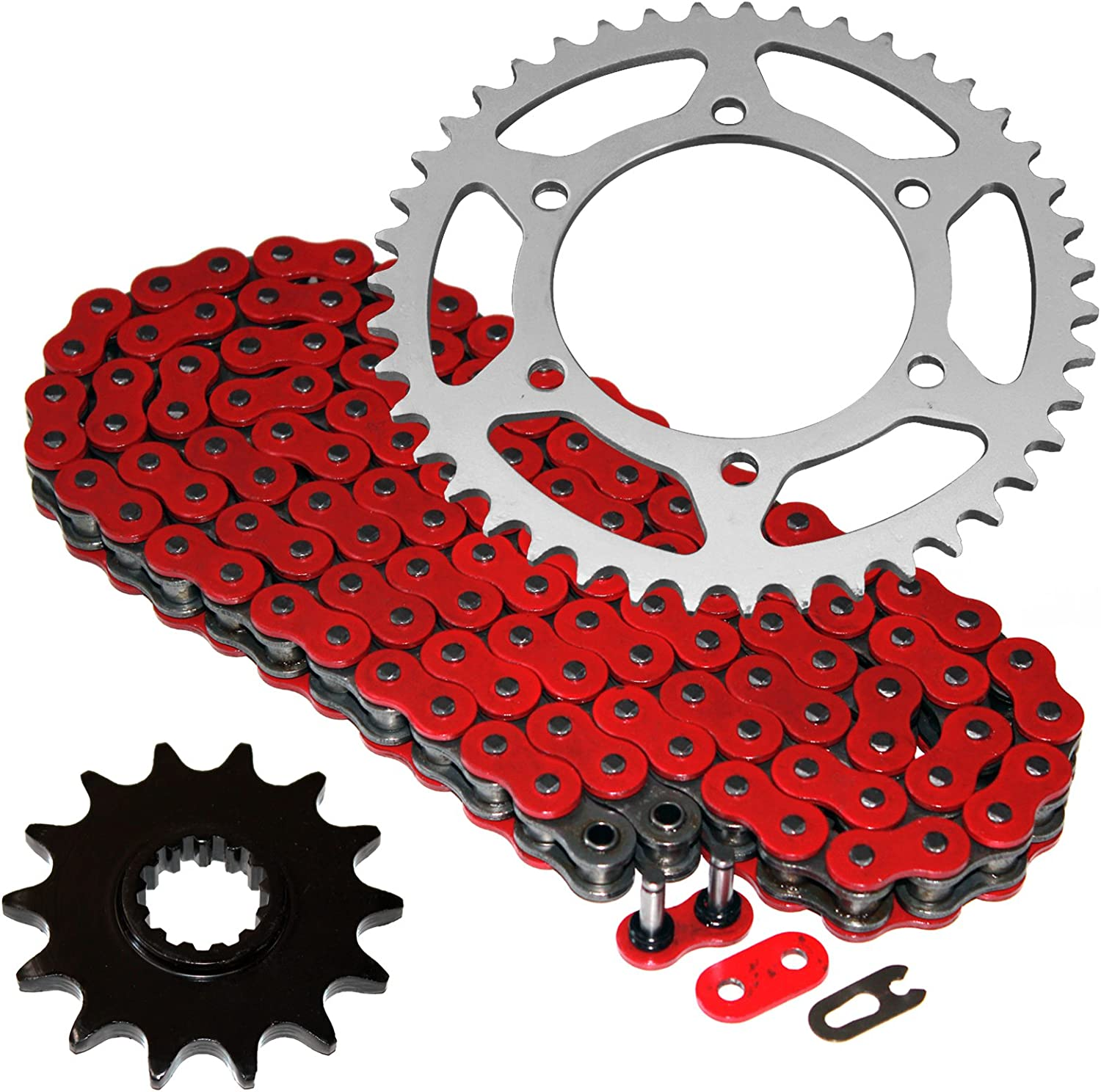 Caltric Red O-Ring Drive Chain & Sprockets for Kawasaki Ex250J Ex-250J Ninja 250R 2008-2012