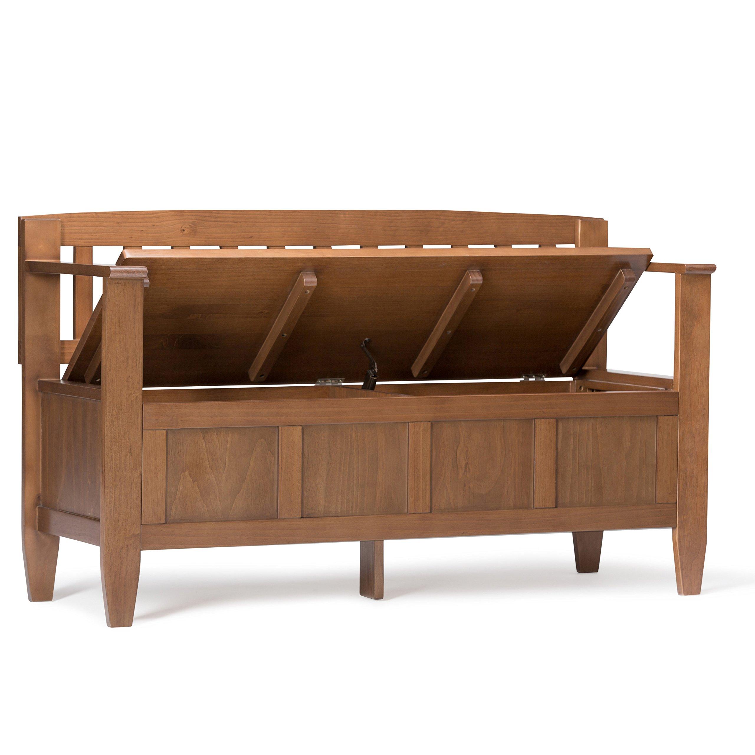 Simpli Home Brooklyn Solid Wood Entryway Storage Bench, Medium Saddle Brown by Simpli Home (Image #3)