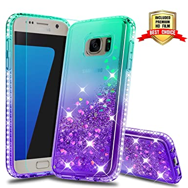 for Samsung Galaxy S7 Edge Case with 2pcs Screen Protector Tempered Glass Back Soft TPU Shockproof Silicone Gel Bumper Protective Cover for Samsung Galaxy S7 Edge-Moon