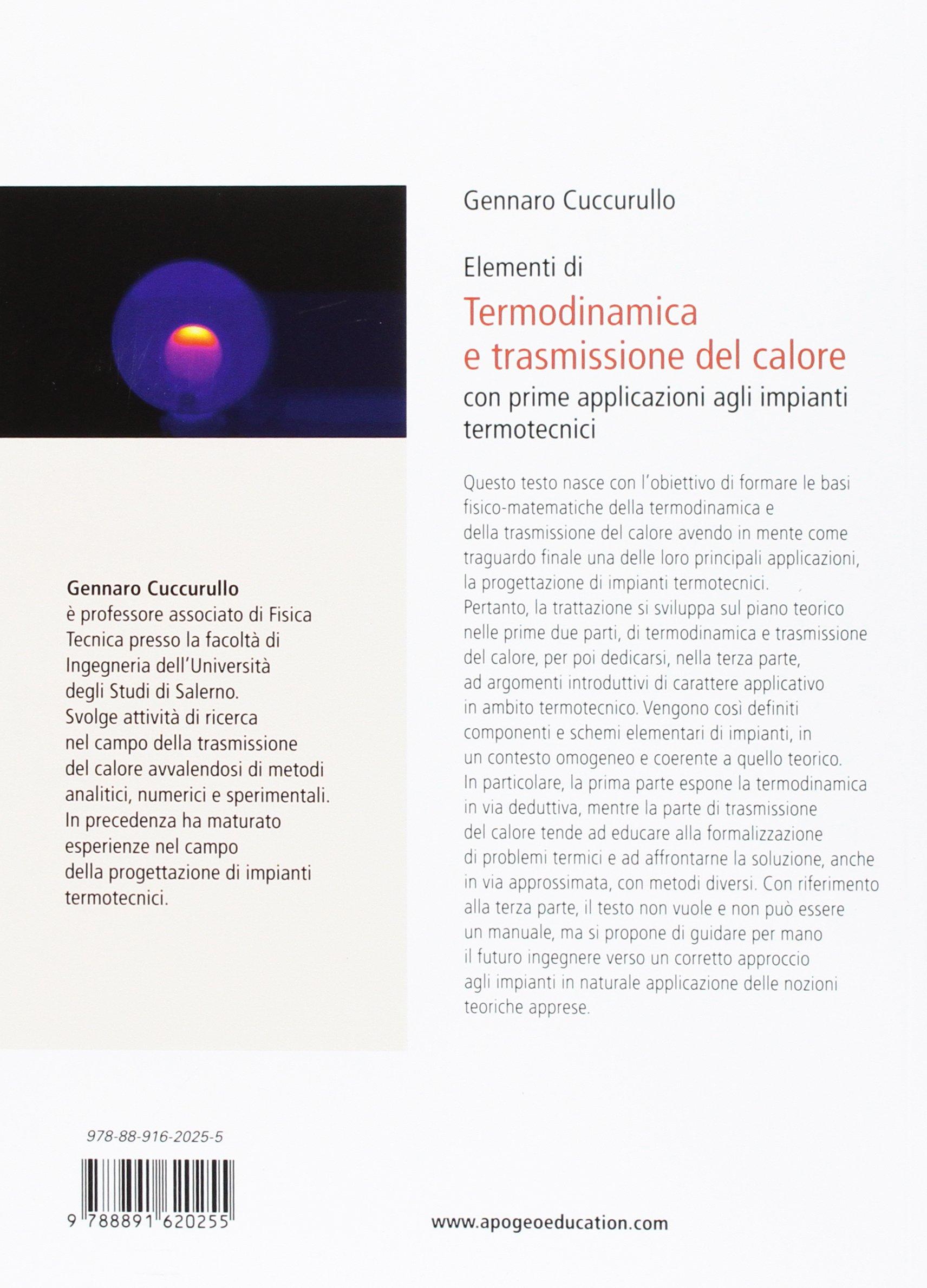 Amazon.it: Termodinamica e trasmissione del calore - Gennaro Cuccurullo -  Libri