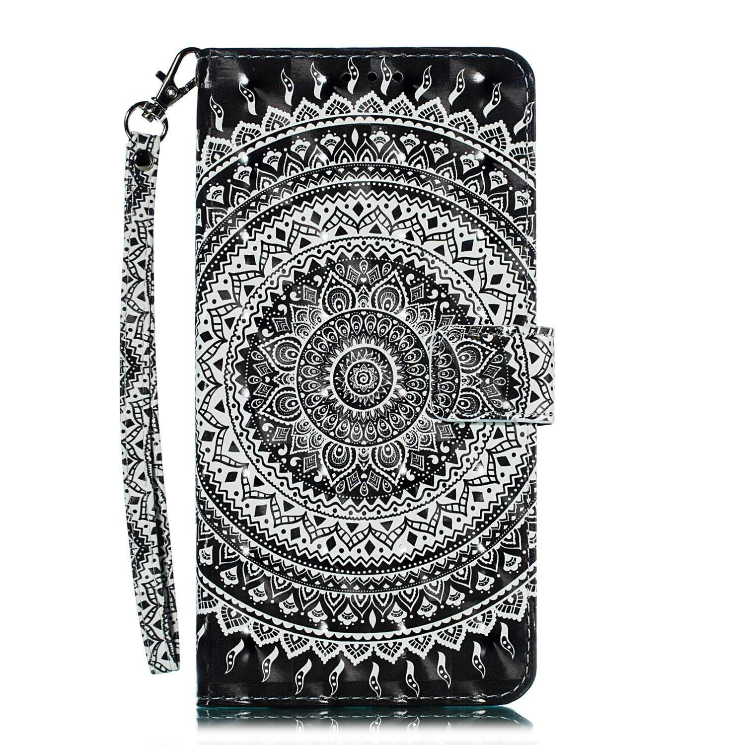 Slim Flip Book Protective Cover with Silicone Inner Case for Huawei P30 Magnetic Shockproof Case with Card Holder Pattern 7 DENDICO Huawei P30 Case